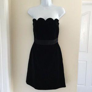 MILLY BLACK VELVET STRAPLESS DRESS